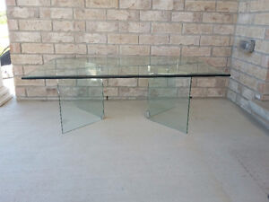 Large beveled glass top with glass base coffee table for sale London Ontario image 6