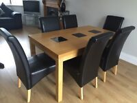 6 seater oak table with leather seats