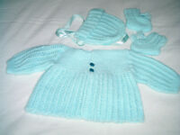 NEW Hand Knit Baby Outfit size 0 to 3 mos