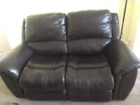 Genuine Brown leather Lazboy 2 seater settee.
