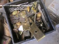 BOXFULL OF OLD DOOR KNOBS & BACKPLATES $2 EA. ARTS & CRAFTS