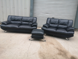 Harvey's black leather 3+2 seater sofas couches suite + footstool 🚚🚚