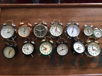 Job lot of 13 vintage bell top alarm clocks quirky display