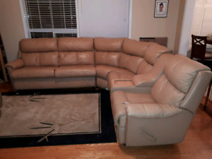 Sectional sofa full grain leather with bed and 2 recliners