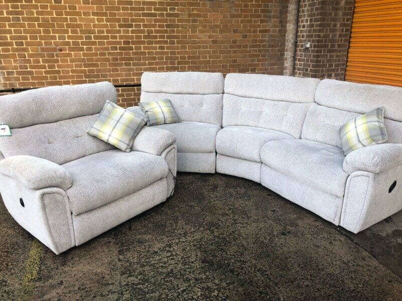 Scs Destiny Curved Reclining Sofa And Love Seat Ex Display Model