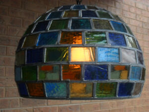 TIFFANY, STAINED GLASS, HANDMADE CEILING LAMP