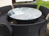 Large rattan garden table and chairs 165cm diameter