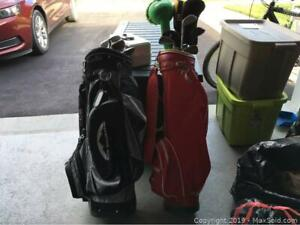 2 Golf Bags With Clubs And Covers