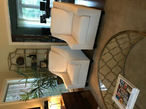 Pair of white upholstered chairs (4 chairs available)