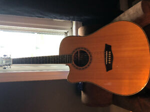 left handed acoustic guitar with built in tuner