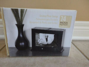 Black wooden desktop photo storage Brand new in box