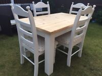 Amazing Shabby Chic Chunky Farmhouse Pine Table and 4 Chairs