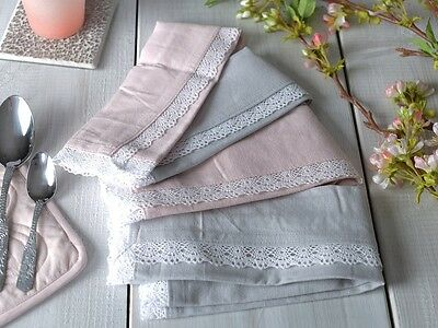 Set of 4 MIKASA Hush PINK / GREY COTTON Lace Trimmed NAPKINS
