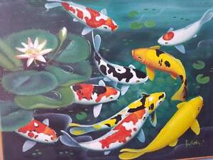 Bali Koi Painting Box Framed Bellevue Swan Area Preview