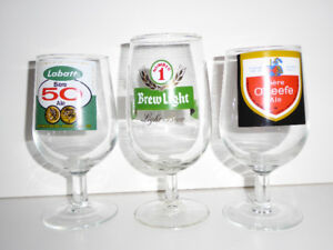 GREAT CHRISTMAS GIFT - 3 VINTAGE BEER GLASSES WITH LOGOS - MINT