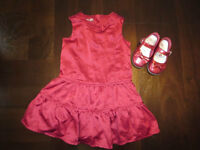2T red satin dress and matching mary jane shoes 5.5