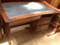 Vintage retro wooden blue top chest of drawers office work desk shabby chic