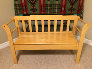 Solid attractive pine bench with seat storage compartment