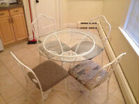 """NEW PRICE - 36"""" Glass Top and Wrought Iron Dinette Set"""