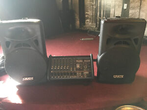 Yorkville M810 powered mixer and 2 Crate Audio SS12 speakers