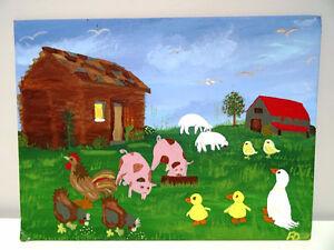 Southern FOLK ART ANGIE DEMING Canvas Board GEORGIA primitive Oakville / Halton Region Toronto (GTA) image 1