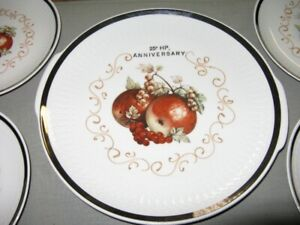 VINTAGE 25th ANNIVERSARY PORCELAIN PLATES made in Germany