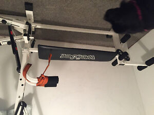 Older style treadmill & home gym with stepper