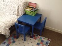 Kids blue table and chairs