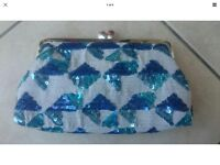 Sarah's bag teal, blue and silver clutch
