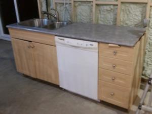 Base cabinets. Sink and dishwasher