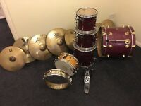 Drum kit and cymbals for sale DW/ sonor delite/ zildjian / stag