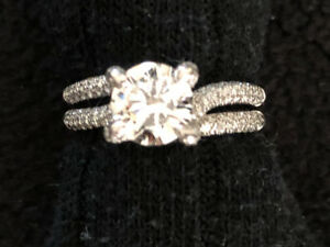 Lady's Simon G Diamond Engagement Ring 18K White Gold