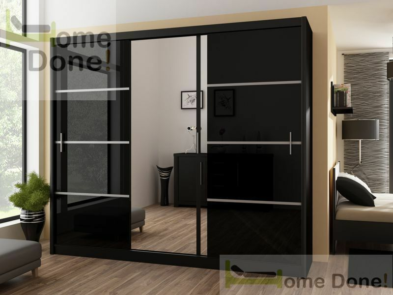 **7-DAY MONEY BACK GUARANTEE**- Gigantic Victor Sliding Luxury Wardrobe in Black and White