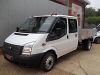 £ 55 A WEEK - 2014 FORD TRANSIT 2.2 CREW CAB TIPPER TRUCK FULL ALLOY BODY FSH