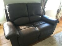 Two seater leather recliner -