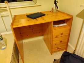 Pine desk with drawers 89x53x74cm