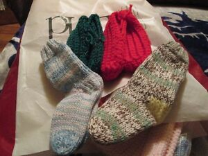 hand knit hats and socks slippers
