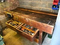 Heavy duty wooden workbench