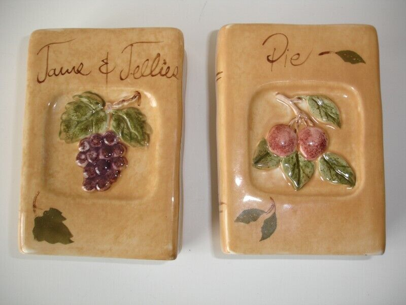 Vintage ceramic salt and pepper shakers shaped like Cook Recipe Books