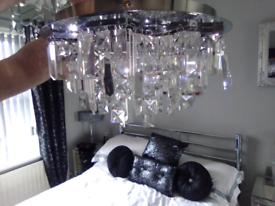 Large flush crystal chandelier