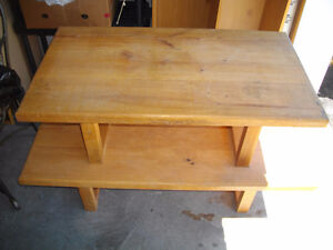 TWO ( 2 ) CUSTOM CRAFTED SOLID BIRCH TABLES / BENCHES / STANDS