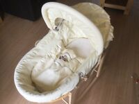 Zeddy & Rhubarb Moses Basket with Stand, Mamas and Papas brand