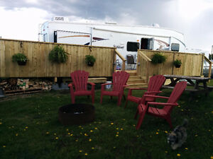 Forest River Wildcat Fifth Wheel and Deck setup in Shediac