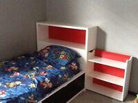 Twin size bed,head board,book shelf,and matress