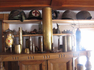 military medals bayonets trench art shell casings etc,