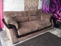 Kirk 3-Seater Fabric And Faux Snakeskin Sofa