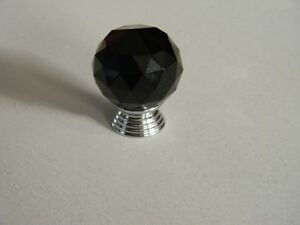 10 Brand New Round Shape Black Crystal Knobs ( with screws)