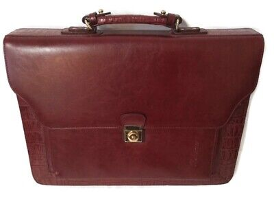 Bellerose Briefcase Red/Burgundy Leather, New With Tags