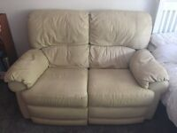 2 seater cream leather sofa settee