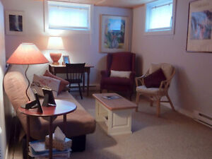 Fully furnished bachelor apartment, available October 1st